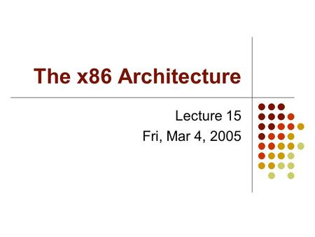 The x86 Architecture Lecture 15 Fri, Mar 4, 2005.