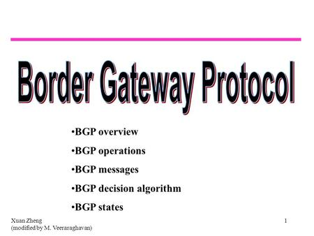 Xuan Zheng (modified by M. Veeraraghavan) 1 BGP overview BGP operations BGP messages BGP decision algorithm BGP states.