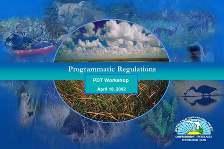 Programmatic Regulations PDT Workshop COMPREHENSIVE EVERGLADES RESTORATION PLAN April 18, 2002.