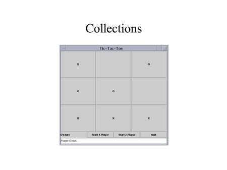 Collections. The Plan ● Why use collections? ● What collections are available? ● How are the collections different? ● Examples ● Practice.