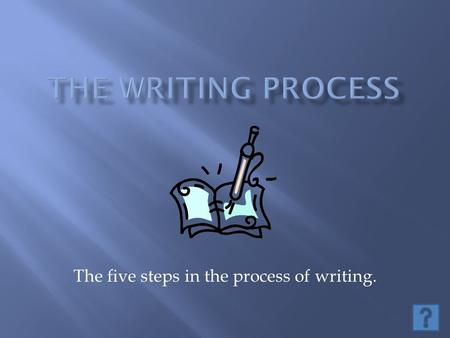 The five steps in the process of writing.. Objectives: o Students will be able to list and define the five steps of the writing process with 100% accuracy.