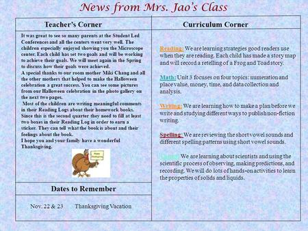 Teacher's Corner News from Mrs. Jao's Class Dates to Remember Curriculum Corner Reading: We are learning strategies good readers use when they are reading.