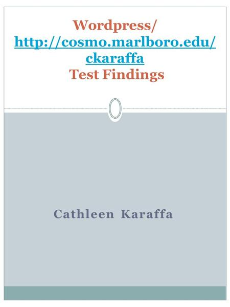 Cathleen Karaffa Wordpress/  ckaraffa Test Findings  ckaraffa.