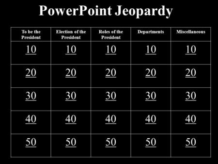 PowerPoint Jeopardy To be the President Election of the President Roles of the President DepartmentsMiscellaneous 10 20 30 40 50.