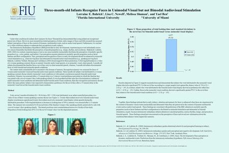 Three-month-old Infants Recognize Faces in Unimodal Visual but not Bimodal Audiovisual Stimulation Lorraine E. Bahrick 1, Lisa C. Newell 2, Melissa Shuman.