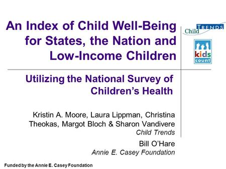 An Index of Child Well-Being for States, the Nation and Low-Income Children Kristin A. Moore, Laura Lippman, Christina Theokas, Margot Bloch & Sharon Vandivere.