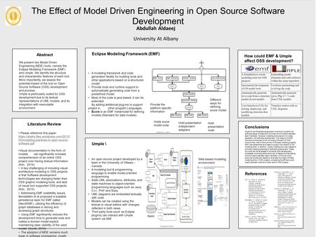 Abstract We present two Model Driven Engineering (MDE) tools, namely the Eclipse Modeling Framework (EMF) and Umple. We identify the structure and characteristic.