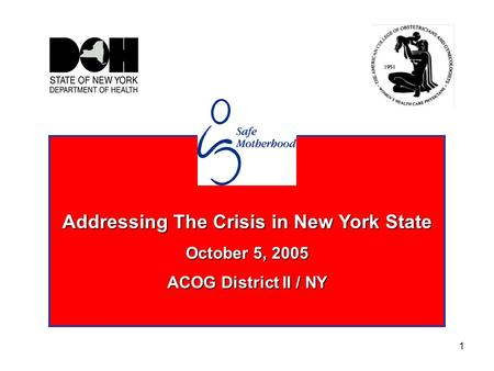 1 Addressing The Crisis in New York State October 5, 2005 ACOG District II / NY.