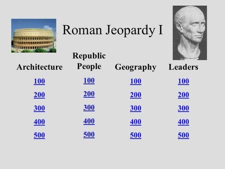 Roman Jeopardy I Architecture 100 200 300 400 500 Republic People 100 200 300 400 500 Geography 100 200 300 400 500 Leaders 100 200 300 400 500.