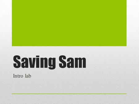 Saving Sam Intro lab. WARM UP I can… problem solve using the scientific method with a team. Warm Up: What is a dilemma or problem you have solved lately?