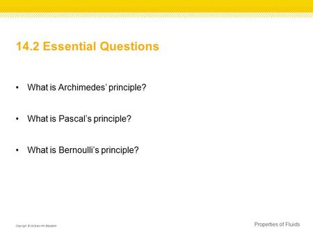 14.2 Essential Questions What is Archimedes' principle?