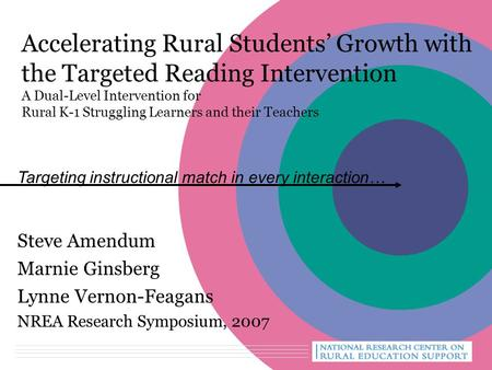 Accelerating Rural Students' Growth with the Targeted Reading Intervention A Dual-Level Intervention for Rural K-1 Struggling Learners and their Teachers.