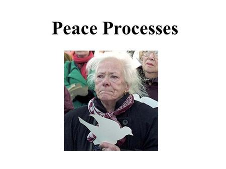 Peace Processes. Peace: Maintenance of Relationships of proven value and worth.