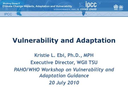 Vulnerability and Adaptation Kristie L. Ebi, Ph.D., MPH Executive Director, WGII TSU PAHO/WHO Workshop on Vulnerability and Adaptation Guidance 20 July.