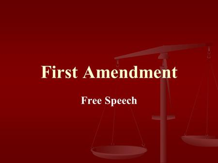 First Amendment Free Speech. First Amendment Congress shall make no law respecting an establishment of religion, or prohibiting the free exercise thereof;