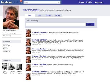 Howard Gardner is still considering a ninth, or existential intelligence John F. KennedyLogout View photos of Gardner (5) Send Gardner a message Poke Gardner.