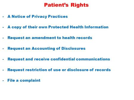 Patient's Rights -A Notice of Privacy Practices -A copy of their own Protected Health Information -Request an amendment to health records -Request an Accounting.