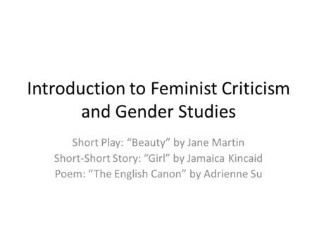 Introduction to Feminist Criticism and Gender Studies