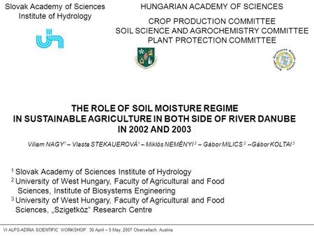 HUNGARIAN ACADEMY OF SCIENCES CROP PRODUCTION COMMITTEE SOIL SCIENCE AND AGROCHEMISTRY COMMITTEE PLANT PROTECTION COMMITTEE VI ALPS-ADRIA SCIENTIFIC WORKSHOP.