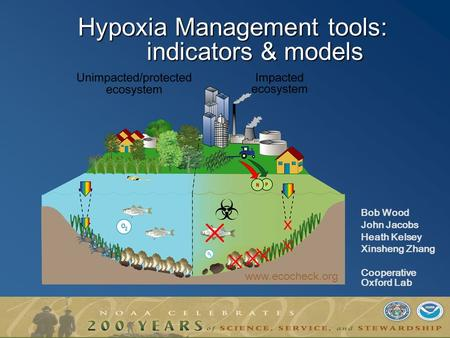 Hypoxia Management tools: indicators & models Bob Wood John Jacobs Heath Kelsey Xinsheng Zhang Cooperative Oxford Lab www.ecocheck.org.