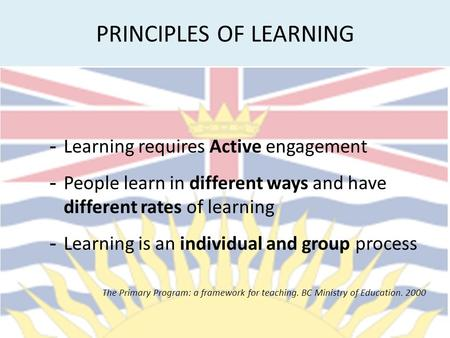PRINCIPLES OF LEARNING - Learning requires Active engagement - People learn in different ways and have different rates of learning - Learning is an individual.
