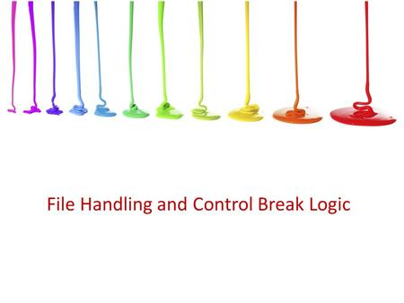 File Handling and Control Break Logic. Objectives In this chapter, you will learn about: Computer files Writing a program that reads from and/or writes.
