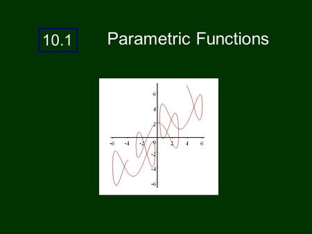 10.1 Parametric Functions. In chapter 1, we talked about parametric equations. Parametric equations can be used to describe motion that is not a function.