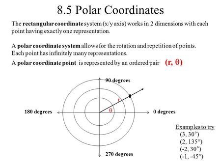 8.5 Polar Coordinates The rectangular coordinate system (x/y axis) works in 2 dimensions with each point having exactly one representation. A polar coordinate.