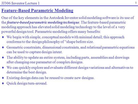 Feature-Based Parametric Modeling