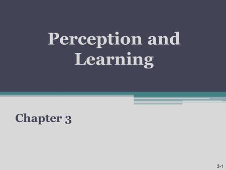 Perception and Learning Chapter 3 3-1. Learning Objectives 1.Distinguish between social perception and social identity concepts. 2.Explain how attribution.