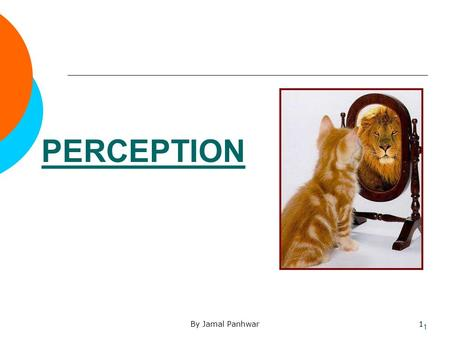 By Jamal Panhwar1 PERCEPTION 1. By Jamal Panhwar2 2 When you change the way you look at things, the things you look at change.