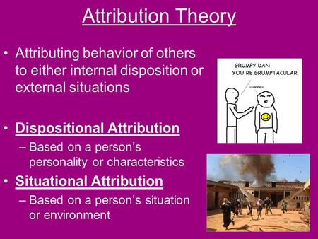 Attribution Theory Attributing behavior of others to either internal disposition or external situations Dispositional Attribution –Based on a person's.