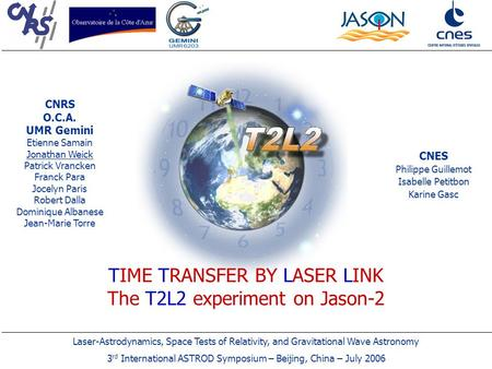Laser-Astrodynamics, Space Tests of Relativity, and Gravitational Wave Astronomy 3 rd International ASTROD Symposium – Beijing, China – July 2006 TIME.