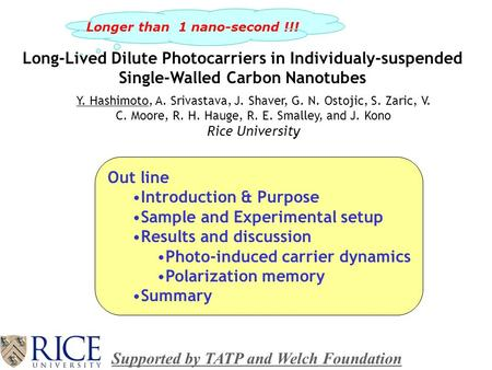 Long-Lived Dilute Photocarriers in Individualy-suspended Single-Walled Carbon Nanotubes Y. Hashimoto, A. Srivastava, J. Shaver, G. N. Ostojic, S. Zaric,