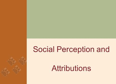 Social Perception and Attributions