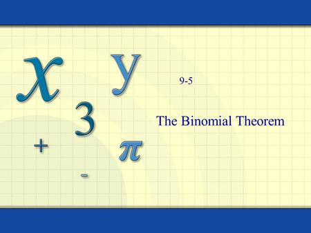 The Binomial Theorem 9-5. Combinations How many combinations can be created choosing r items from n choices. 4! = (4)(3)(2)(1) = 24 0! = 1 Copyright ©