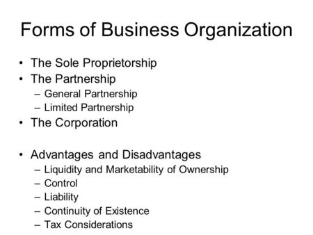 Forms of Business Organization The Sole Proprietorship The Partnership –General Partnership –Limited Partnership The Corporation Advantages and Disadvantages.