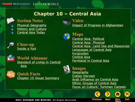 Chapter 10 – Central Asia Section Notes Physical Geography History and Culture Central Asia Today Video Impact of Progress in Afghanistan Images Geography.