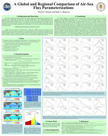 A Global and Regional Comparison of Air-Sea Flux Parameterizations David F. Moroni and Mark A. Bourassa 1. Background and Motivation Air-sea fluxes of.