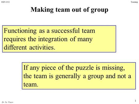 EGN-1002 Dr. Yu. Vlasov Teaming 1 Making team out of group Functioning as a successful team requires the integration of many different activities. If any.