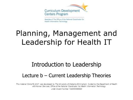 Planning, Management and Leadership for Health IT