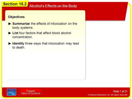 Section 15.2 Alcohol's Effects on the Body Slide 1 of 21 Objectives Summarize the effects of intoxication on the body systems. List four factors that affect.
