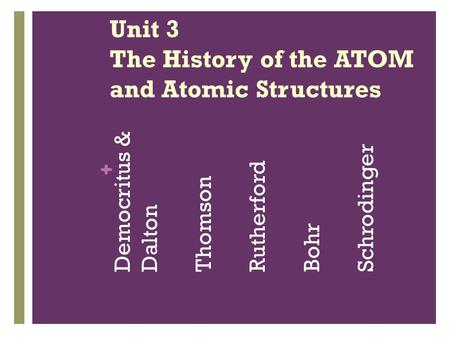 + Unit 3 The History of the ATOM and Atomic Structures Democritus & Dalton Thomson Rutherford Bohr Schrodinger.