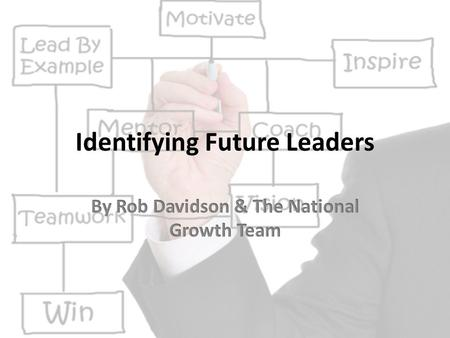 Identifying Future Leaders. Leadership is the activity which consists of influencing other people's behavior, individually or in a group, towards achievement.
