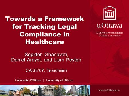 Towards a Framework for Tracking Legal Compliance in Healthcare