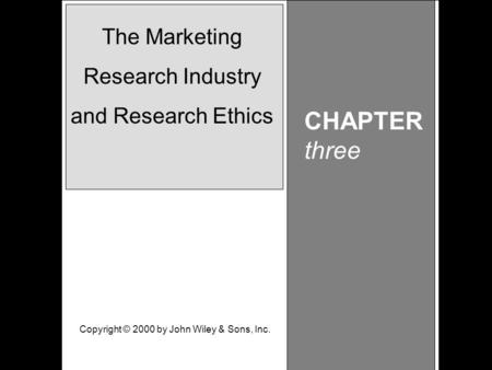 Learning Objective Chapter 3 The Marketing Research Industry and Research Ethics CHAPTER three The Marketing Research Industry and Research Ethics Copyright.