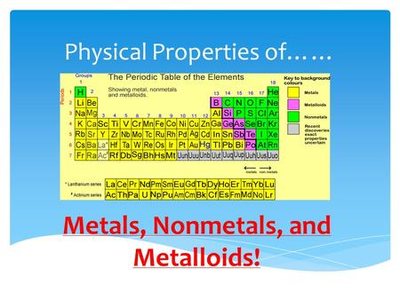 Physical Properties of…… Metals, Nonmetals, and Metalloids!