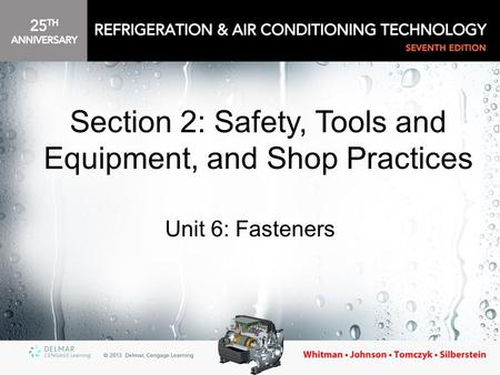 Unit 6: Fasteners Section 2: Safety, Tools and Equipment, and Shop Practices.