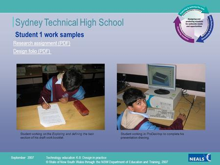 Sydney Technical High School 1 Research assignment (PDF) Design folio (PDF) Student working on the Exploring and defining the task section of his draft.