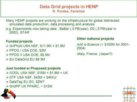 Data Grid projects in HENP R. Pordes, Fermilab Many HENP projects are working on the infrastructure for global distributed simulated data production, data.